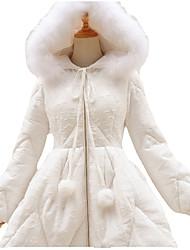 Coat Sweet Lolita Lolita Cosplay Lolita Dress Black White Solid Long Sleeve Long Length Coat For Polyester Terylene
