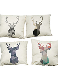 Set of 4 Color geometric animal pattern  Linen Pillowcase Sofa Home Decor Cushion Cover