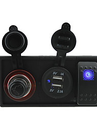 DC 12V soquetes / 24v 3.1a porta USB e tomada de um isqueiro com fios jumper interruptor de balancim e titular de habitação
