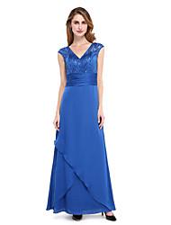 cappotto / colonna v-collo lunghezza pavimento stretch chiffon madre del vestito sposa con bordare da lan ting bride®