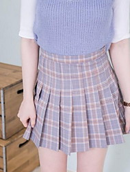 cheap -Women's Daily Mini Skirts,Casual A Line Cotton Check Spring