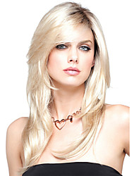 cheap -Blonde Medium Length Heat Resistant Natural Hair Synthetic Wigs with Bang European Style For Woman