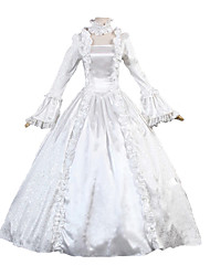 Steampunk® Victorian Reenactment Gothic White Satin Vintage Wedding Gown Bridal Dress