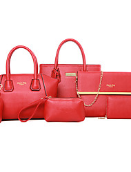 Women Bags PU Bag Set Zipper for Formal Office & Career All Seasons Blue Black Red Yellow Fuchsia