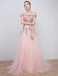 cheap -A-Line Off Shoulder Floor Length Tulle Over Lace Formal Evening Dress with Beading Appliques Lace Sash / Ribbon by Embroidered Bridal