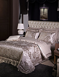 cheap -Gray Luxury Silk Cotton Blend Duvet Cover Sets Queen King Size Bedding Set