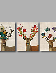 Stretched Canvas Print Three Panels Canvas Wall Decor Home Decoration Abstract Modern Deer Cartoon Animals