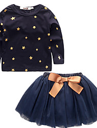 cheap -Girls' Stars Vintage Nature Clothing Set, Cotton All Seasons Long Sleeves Cute Casual Active Blue