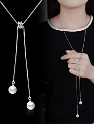 cheap -Imitation Pearl Silver Plated Pendant Necklace Y-Necklace - Basic Fashion Imitation Pearl Necklace For Wedding Party Special Occasion