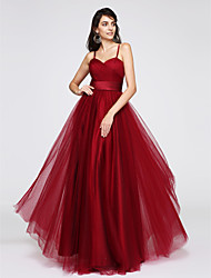 cheap -A-Line Spaghetti Straps Floor Length Tulle Prom Formal Evening Dress with Ruched Criss Cross by TS Couture®