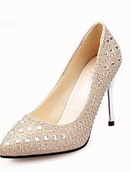 Damen High Heels Komfort Slouch Stiefel Stoff Frühling Normal Walking Komfort Slouch Stiefel Strass Stöckelabsatz Gold Grau Silber Rot2,5