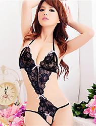 baratos -Mulheres Tamanhos Grandes Super Sensual Conjunto Completo Lingerie com Renda Roupa de Noite - Frente Única