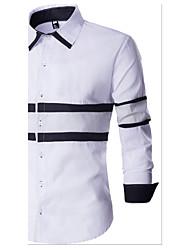 Men's Casual/Daily Simple Shirt,Color Block Shirt Collar Long Sleeve White Black Gray Cotton