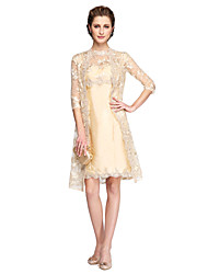 A-Line Scalloped Knee Length Lace Satin Mother of the Bride Dress with Lace Pleats by LAN TING BRIDE®