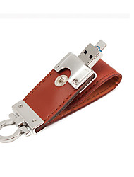 2 in 1 in pelle USB 3.0 OTG Flash Drive 32GB micro chiavetta USB (marrone) 32gb