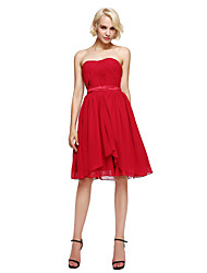 cheap -A-Line Strapless Knee Length Chiffon Bridesmaid Dress with Sash / Ribbon Side Draping by LAN TING BRIDE®