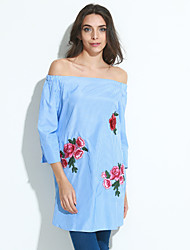 cheap -Women's Casual Loose Dress - Embroidered