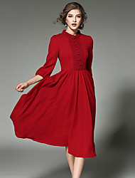 cheap -Women's Party Going out Holiday Vintage Sophisticated Street chic Chiffon Swing Midi Dress, Solid Turtleneck