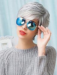 Недорогие -жен. Человеческие волосы без парики Серый Короткий Прямые Стрижка под мальчика С чёлкой Боковая часть