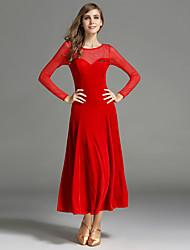 Danse de Salon Robes Femme Spectacle Velours Au drapée Fantaisie 1 Pièce Manche longue Taille moyenne Robe