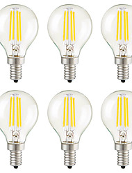 E14 E12 E26/E27 LED Filament Bulbs G45 4 COB 400 lm Warm White 2700 K Dimmable Decorative AC 220-240 AC 110-130 V 6pcs