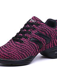 """cheap -Women's Dance Sneakers Fabric Sneaker Practice Outdoor Performance Flat Heel Dark Gray Dark Red Under 1"""" Non Customizable"""