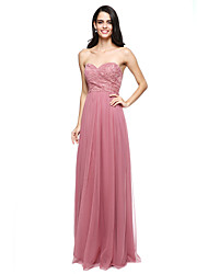 cheap -Sheath / Column Sweetheart Floor Length Lace Tulle Bridesmaid Dress with Criss Cross by LAN TING BRIDE®