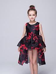 abito da sera vestito asimmetrico dalla ragazza del fiore - collo organizzato senza maniche con motivo / stampa da ydn