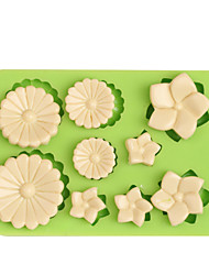 cheap -9 Holes Flowers Shape Silicone Fondant Mould For Cake Jelly Chocolate Muffin Molds Ramdon Color