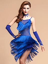 Latin Dance Outfits Women's Performance Tulle Milk Fiber Crystals/Rhinestones Tassel(s) 5 Pieces Dress Gloves Neckwear Shorts