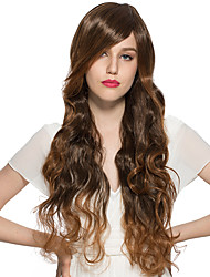 Water Wave Wig Synthetic Fiber Heat Resistant Wig Side-part Bangs Cosplay Costume Hairstyle