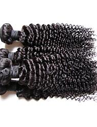 Недорогие -человеческие волосы Remy Пряди натуральных волос Реми Кудрявый / Kinky Curly Бразильские волосы 400 g Более года