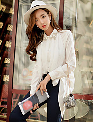 DABUWAWA Women's Going out Formal Work Cute Street chic Sophisticated Spring Fall BlouseSolid Notch Lapel Long Sleeve White Black Polyester