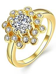 Mulheres Anéis Grossos Diamante sintético Geométrico Moda Personalizado Estilo bonito Bling Bling Ouro Zircão Zircônia Cubica Rosa