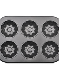 Six Cake Mold Non-Sticky Coating Baking Tray Tart Cup Mould Iron Ccake Pan Flower