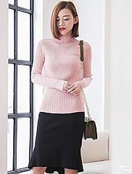Для женщин На выход На каждый день Секси Очаровательный Обычный Пуловер Однотонный,Красный Белый Черный Коричневый Серый Фиолетовый Хомут