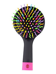 1Pcs Magic Hair Comb Brush Rainbow Volume Styling Tools Anti Tangle Anti-Static Head Massager Hairbrush With Mirror Color Random