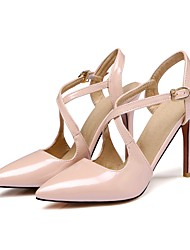 cheap -Women's Shoes Patent Leather Spring Summer Fall Sandals Stiletto Heel Pointed Toe Buckle For Dress Black Beige Red Blushing Pink