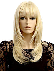 Straight Wave Blonde Synthetic Wigs Hair Wig Neat Bang Wig Women's Hair Heat Resistant Synthetic Wigs
