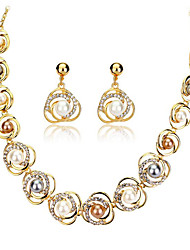 cheap -Women's Rhinestone / Imitation Pearl Pearl / 18K Gold Jewelry Set 1 Necklace / 1 Pair of Earrings - European Gold Jewelry Set For Wedding