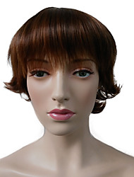 Short Bob Wavy Wig Brown Women Party Cosplay Wigs With Wig Cap