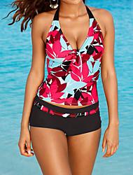 cheap -Women's Print Floral Bandeau Tankini Swimwear,Spandex Red