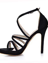 Women's Sandals Summer Comfort Silk Office & Career Party & Evening Dress Stiletto Heel Black Ivory