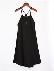 preiswerte -Damen Lose Das kleine Schwarze Kleid Sexy Solide V-Ausschnitt Mini Ärmellos Kunstseide Sommer Hohe Hüfthöhe Unelastisch
