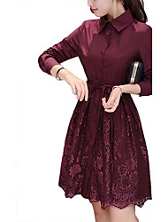 cheap -Women's Holiday / Going out Casual / Street chic / Sophisticated Loose / Sheath / Lace Dress - Solid Colored Shirt Collar