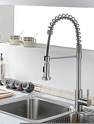 cheap -Kitchen faucet - Traditional Nickel Brushed Pull-out / ­Pull-down Centerset