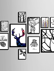cheap -E-HOME® Framed Canvas Art Line Animals And Trees Theme Series Framed Canvas Print One Pcs