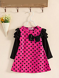 Girl's Polka Dot Dress,Cotton Spring Fall Long Sleeve