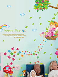 Happy Day Swing Girl Rainbow Wall Stickers DIY Children's Bedroom Wall Decals Home And Garden