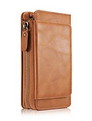 preiswerte -Hülle Für Samsung Galaxy S7 edge S7 Kreditkartenfächer Geldbeutel Ganzkörper-Gehäuse Volltonfarbe Hart PU-Leder für S7 edge S7 S6 edge S6
